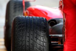 A wet Bridgestone tyre