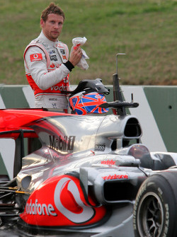 Jenson Button, McLaren Mercedes stops on track