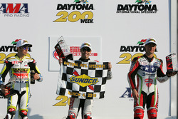 Podium: race winner Jake Zemke, second place Tommy Hayden, third place Larry Pegram