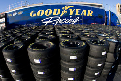The Goodyear truck sits in the garage