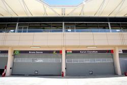 The garages of Bruno Senna, Hispania Racing F1 Team, Karun Chandhok, Hispania Racing F1 Team
