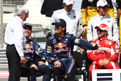 Bernie Ecclestone with Sebastian Vettel, Red Bull Racing and Mark Webber, Red Bull Racing