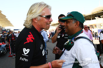 Sir Richard Branson, Chairman of the Virgin Group with Tony Fernandes, Lotus F1 Team, Team Principal