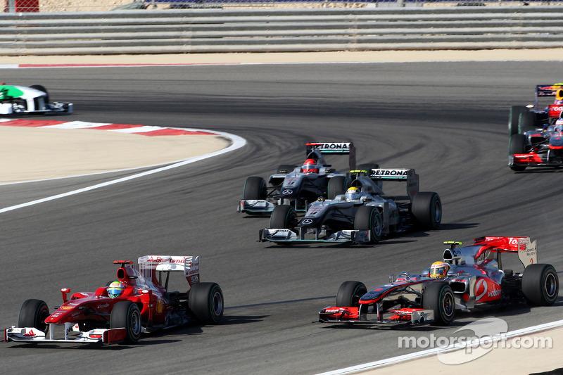 Felipe Massa, Scuderia Ferrari; Lewis Hamilton, McLaren-Mercedes; Nico Rosberg, Mercedes GP; Michael Schumacher, Mercedes GP