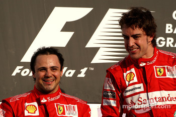 Podium: race winner Fernando Alonso, Scuderia Ferrari, with second place Felipe Massa, Scuderia Ferrari