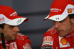 Press conference: race winner Fernando Alonso, Scuderia Ferrari, with second place Felipe Massa, Scuderia Ferrari