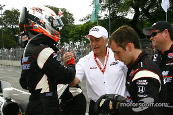 Race winner Will Power, Team Penske celebrates with Roger Penske