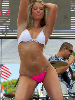 The bikini contest in the party zone: a charming contestant