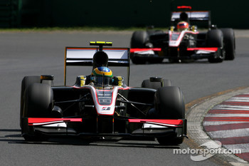Bruno Senna, HRT F1 Team and Karun Chandhok, HRT F1 Team