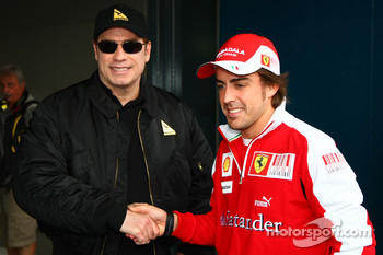 John Travolta with Fernando Alonso, Scuderia Ferrari