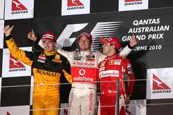 Podium: race winner Jenson Button, McLaren Mercedes, second place Robert Kubica, Renault F1 Team, third place Felipe Massa, Scuderia Ferrari