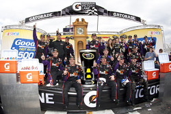 Victory lane: race winner Denny Hamlin, Joe Gibbs Racing Toyota celebrates with his team