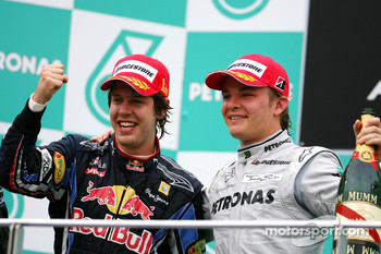 Podium: race winner Sebastian Vettel, Red Bull Racing, third place Nico Rosberg, Mercedes GP