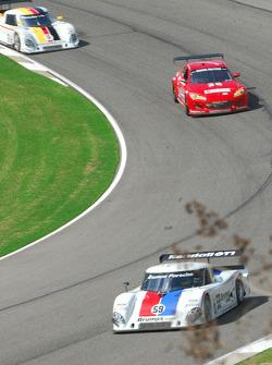 #59 Brumos Racing Porsche Riley: David Donohue, Darren Law leads #30 Racers Edge Motorsports Mazda RX-8: Todd Lamb, Jordan Taylor and #9 AER Porsche Riley: Joao Barbosa, Terry Borcheller