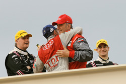 LMP1 podium: class and overall winner Allan McNish celebrates with Dr. Wolfgang Ullrich