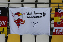A banner for Sebastian Vettel, Red Bull Racing