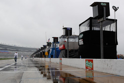 Rain falls on the Texas Motor Speedway pitlane