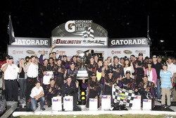 Victory lane: race winner Denny Hamlin, Joe Gibbs Racing Toyota
