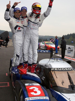 Race winners Pedro Lamy, Sébastien Bourdais and Simon Pagenaud celebrate