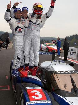 Race winners Pedro Lamy, Sébastien Bourdais and Simon Pagenaud celebrate