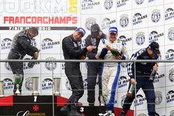FLM podium: class winners class winners Steve Zacchia, Luca Moro and Wolfgang Kaufmann, second place Dominik Kraihamer, Nicolas de Crem and Bernard Delhez, third place Peter Kutemann, Maurice Basso and John Hartshorne celebrate with champagne