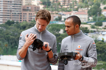 Jenson Button, McLaren Mercedes, Lewis Hamilton, McLaren Mercedes with Monaco editiion steering wheels with Steinmetz Diamonds