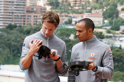 Jenson Button, McLaren Mercedes, Lewis Hamilton, McLaren Mercedes with Monaco editiion steering wheels with Steinmetz Diamonds