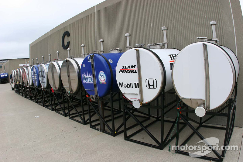 Race day fuel tanks in the garage area