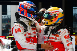 Race winner Lewis Hamilton, McLaren Mercedes, second place Jenson Button, McLaren Mercedes