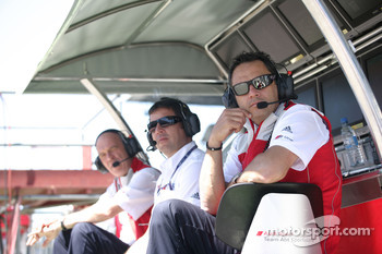 Hans-Jurgen Abt, Team chef Abt-Audi with Albert Deuring, Technical Director Abt Sportsline, Dr. Wolfgang Ullrich, Audi Motorsport Director