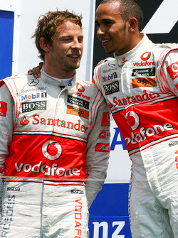 Podium: race winner Lewis Hamilton, McLaren Mercedes and second place Jenson Button, McLaren Mercedes