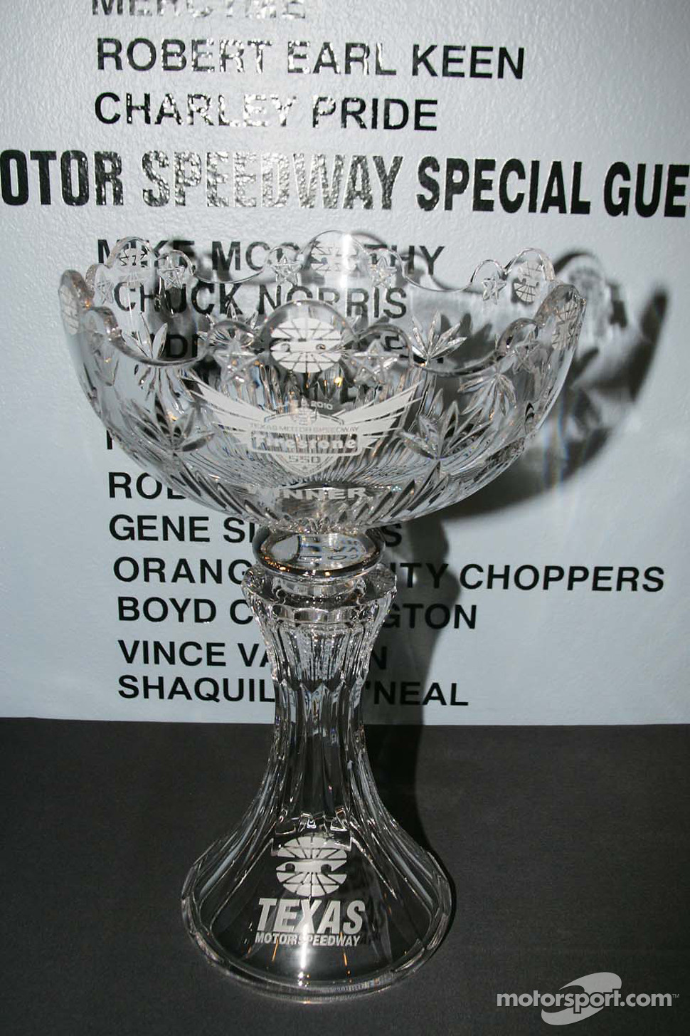 The Foyt-Rutherford Trophy given to the winner of the Firestone 550K at Texas Motor Speedway