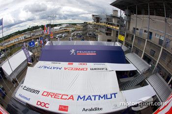 Team Peugeot and Team Oreca paddock area