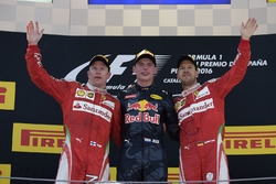 The podium: race winner Max Verstappen, Red Bull Racing, second place Kimi Raikonnen, Scuderia Ferrari, third place Sebastian Vettel, Scuderia Ferrari