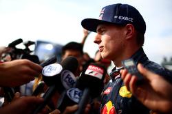 Max Verstappen, Red Bull Racing speaks with members of the media