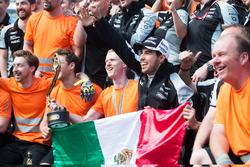 Sergio Perez, Sahara Force India F1 celebrates his third position with the team
