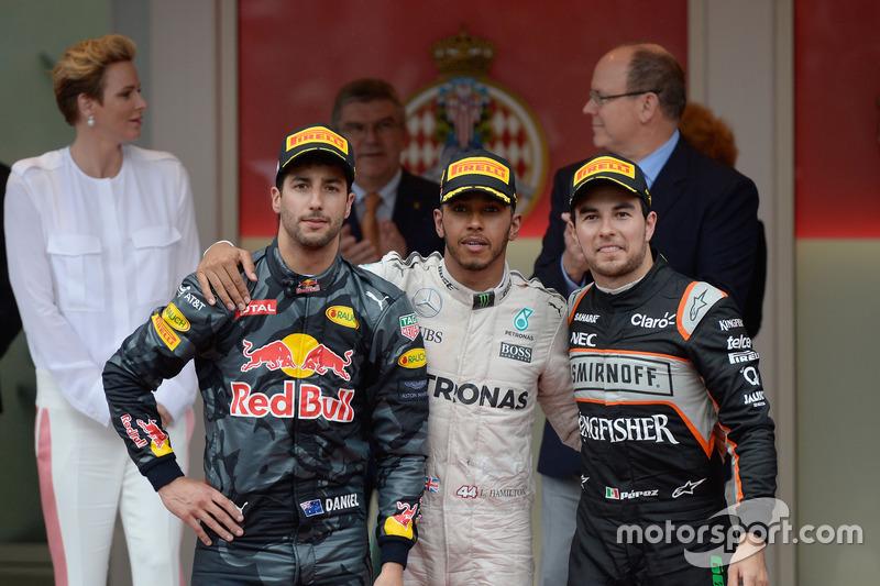1. Lewis Hamilton, 2. Daniel Ricciardo, 3. Sergio Perez