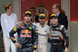The podium: Daniel Ricciardo, Red Bull Racing, second; Lewis Hamilton, Mercedes AMG F1, race winner; Sergio Perez, Sahara Force India F1, third
