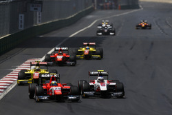 Jimmy Eriksson, Arden International leads Sergey Sirotkin, ART Grand Prix & Sean Gelael, Pertamina Campos Racing