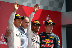 Race winner Lewis Hamilton, Mercedes AMG F1 W07; second place Nico Rosberg, Mercedes AMG Petronas F1 W07 and third place Max Verstappen, Red Bull Racing
