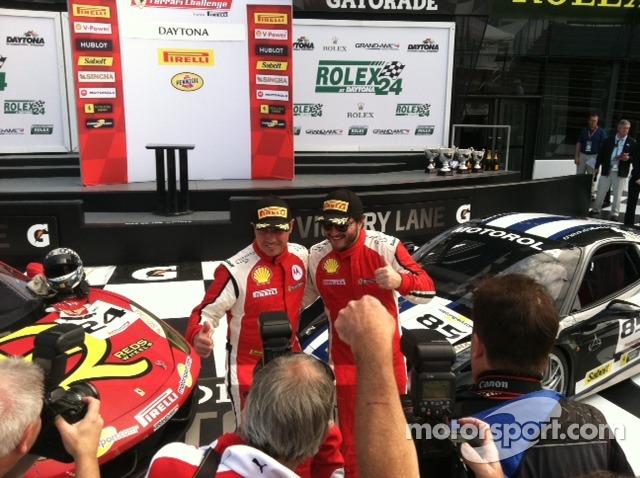 John Farano and Carlos Kauffmann share the victory lane tributes