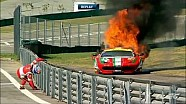 Toni Vilander's Ferrari on fire at the 6 Hours of Sao Paulo