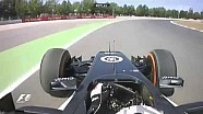 Formula 1 Spain GP FP1 - Guido van der Garde nearly miss the wall (BRAKE PROBLEMS)