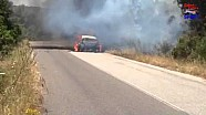 Hirvonen's car burns into nothing - WRC Rally Italia 2014