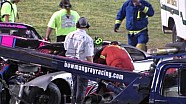 Driver flies out of pits & wrecks leaders - 2014 Bowman Gray Stadium