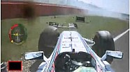 Felipe Massa crashes during Silverstone FP1