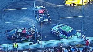 Major wreck as Keselowski slows