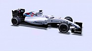 A rotating 3D animation of the 2015 Williams FW37