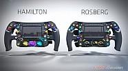 Hamilton e Rosberg: sono diversi anche i volanti