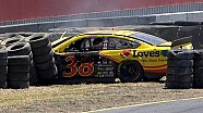 Gilliland slams wall after LF tire failure
